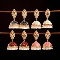 national retro geometry turkish womens earrings indian jewelry gold carved bell tassel hanging earrings