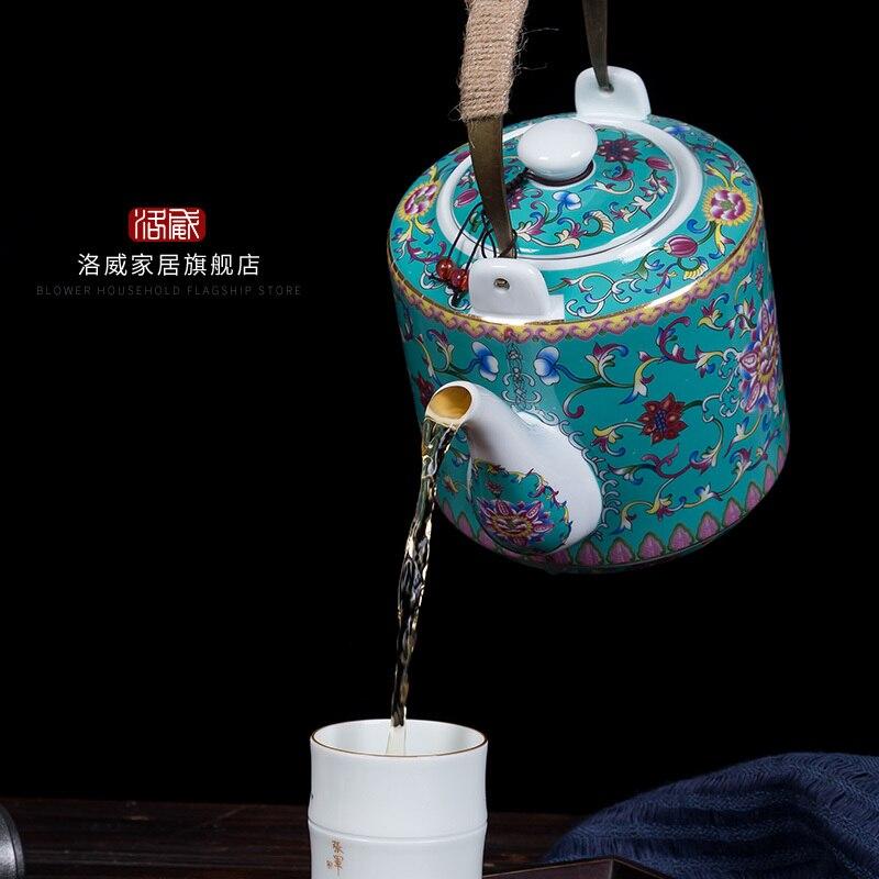 Ceramic kettle household Chinese antique high temperature resistant large capacity tea pot enamel coloured teapot teaware 1-2L