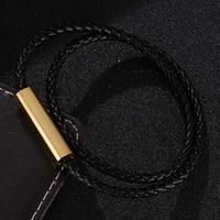 fashion black braided leather bracelet men bracelet for women jewelry multilayer leather magnetic clasps charm bracelet bb0596