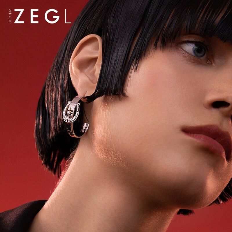 Zengliu Designer Vachette Clasp Semicircle C- Shaped Earrings Female Niche Design Stud Earrings 925