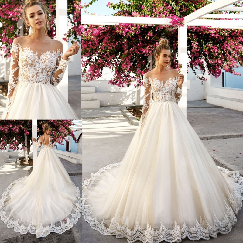 Promo Romantic Lace Applique Tulle Wedding Dress With Sheer Neck Long Sleeves Champagne Court Train Long Bridal Gowns Illusion Back