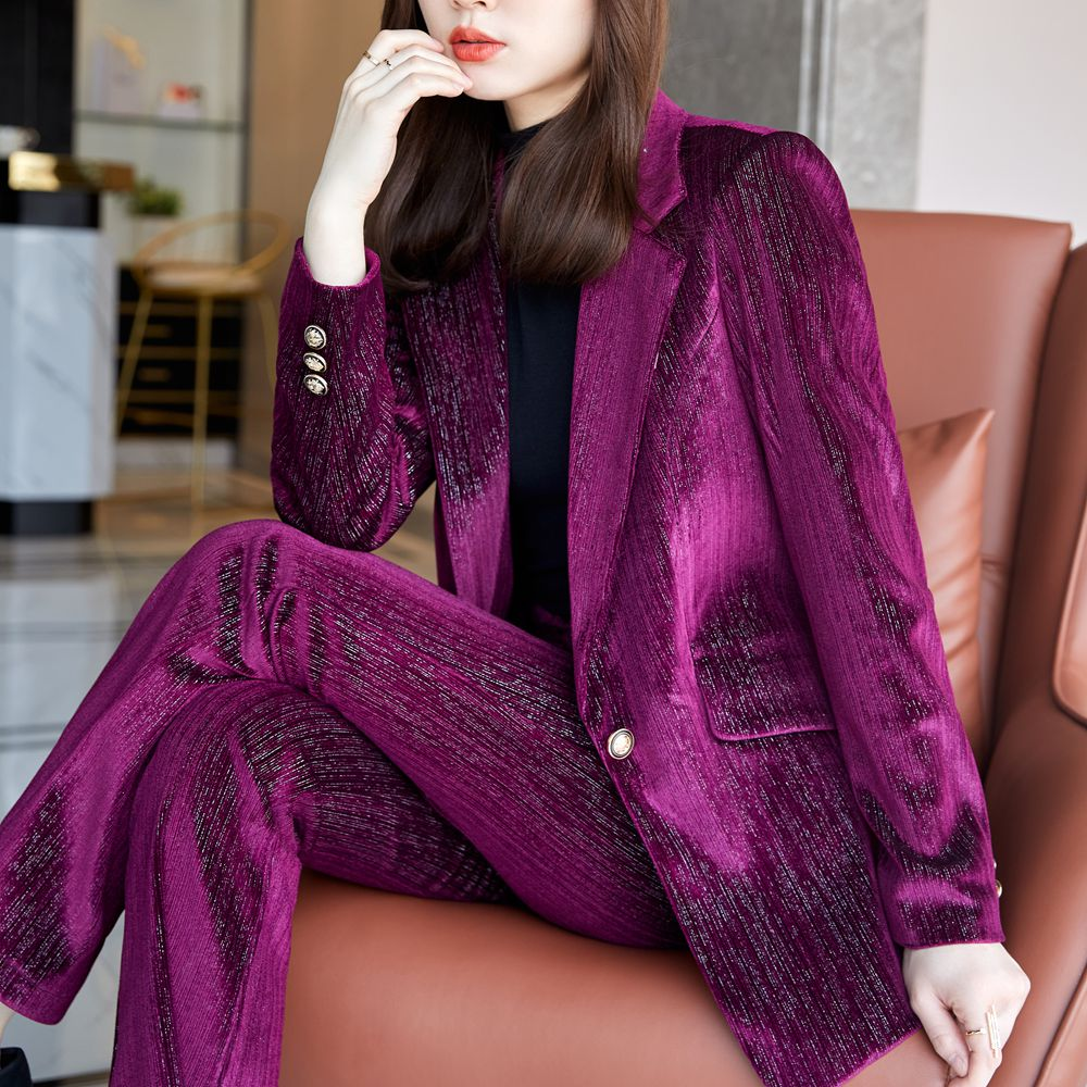Jacket and Pants Set 2 pieces women's suit coat and trousers women's blue velvet autumn winter office work suit