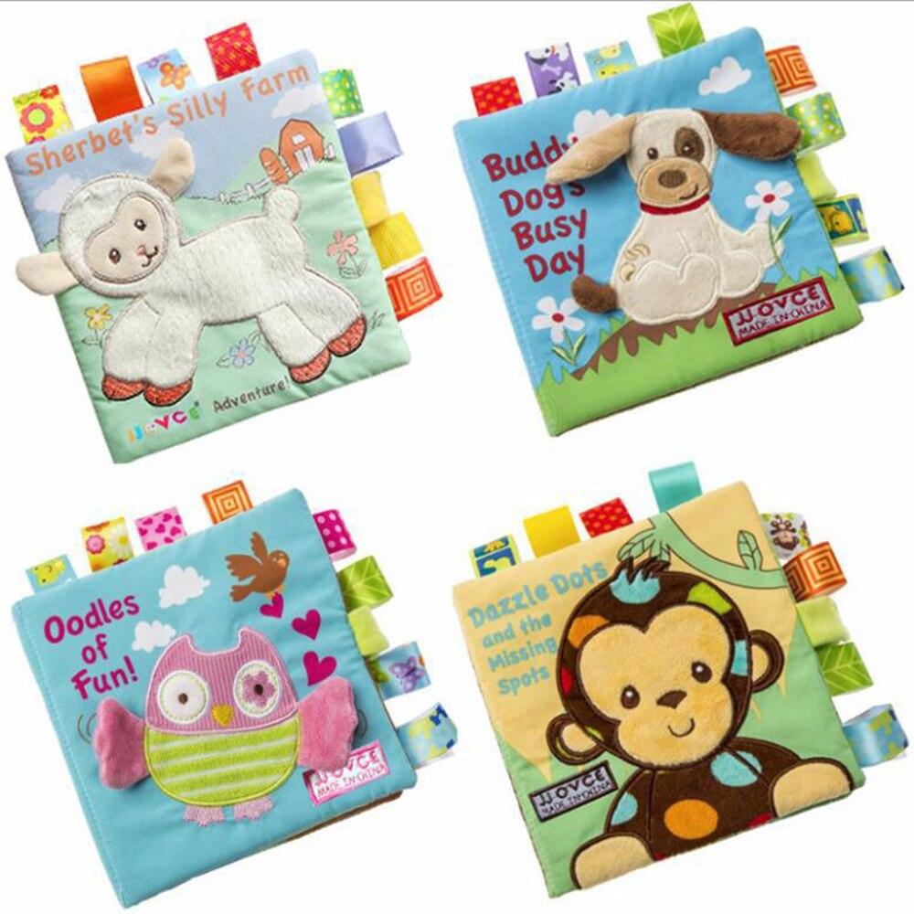 Livro de pano de bebê aprendizagem precoce som educacional crianças livros macio animal bonito lavável pai-criança interação inglês história livro