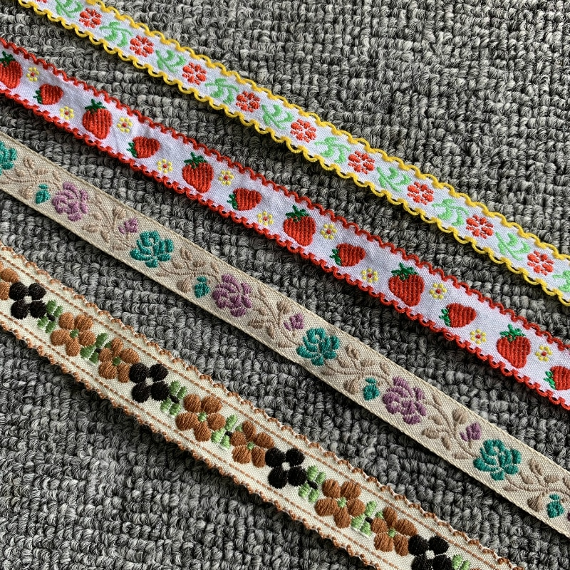 3YARD 5/8 INCH 12-20mm Khaki Flowers Strawberry Handmade Jacquard Ribbon Lace MJ200531