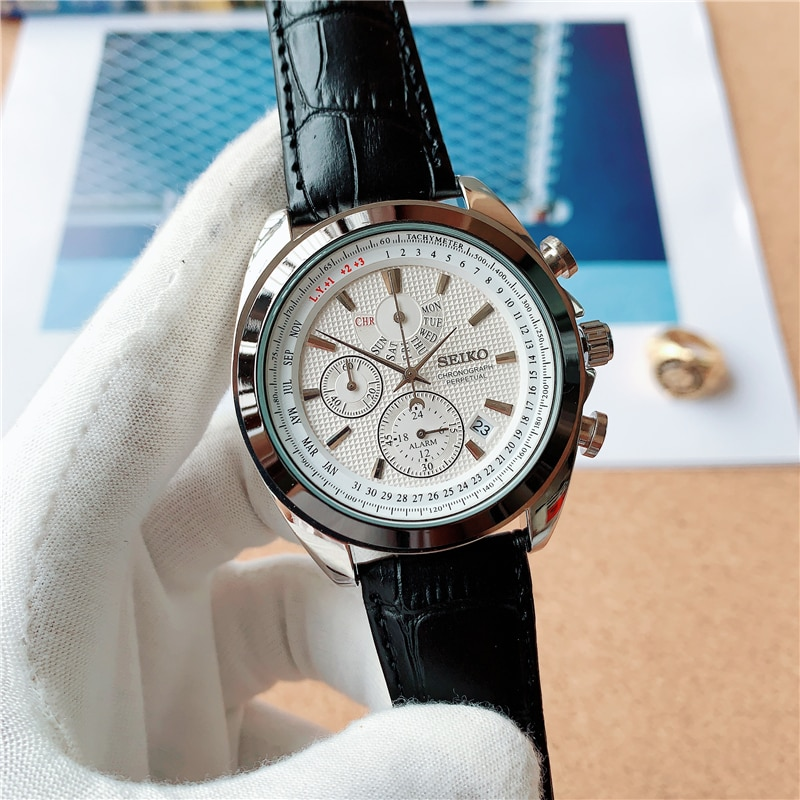 Seiko2021 Neosports watch men Chrono dial beige strap leather not waterproof watch 8898