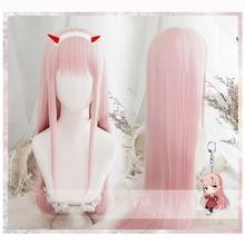 Pelucas de Cosplay de Anime DARLING in the FRANXX 02, Zero Two, 100cm de largo, pelo sintético rosa, peluca de Cosplay, gorro de peluca y clip