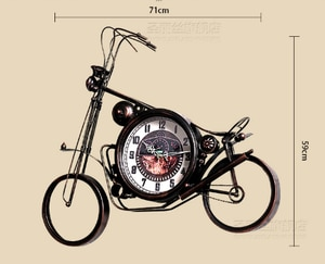 Vintage Wrought Iron Motorcycle Clock Bar Decoration Electronic Clocks Living Room Home Wall Clock Living Room Creative Fashion