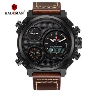 KADEMAN Top Luxury Brand Mens Watches LED Display Casual Leather Wrist Waterproof Alarm Sport Male Digital Relogio Masculino
