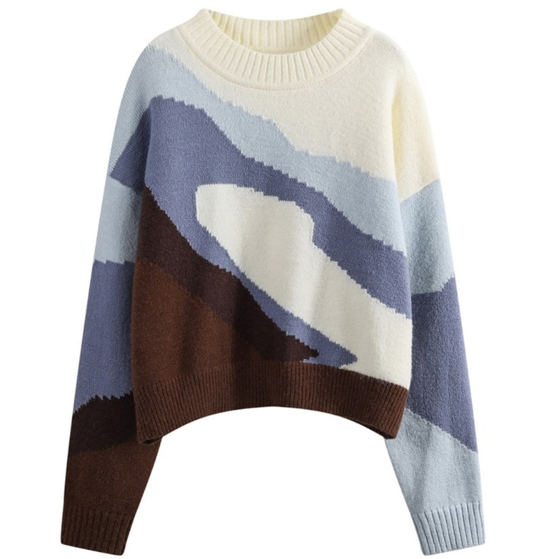 Women Long Sleeve O-Neck Sweater Contrast Color Patchwork Knitwear Jumper Tops enlarge