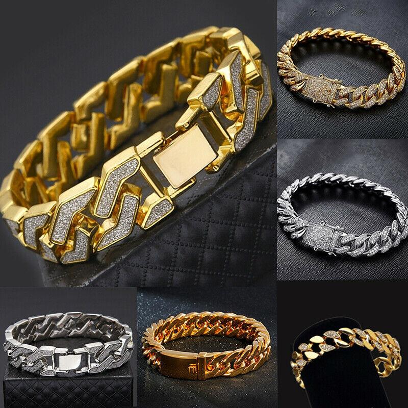 Men's Heavy Solid Alloy Curb Chain Bracelet Sand Blast BangleMen Hip Hop Rock Bracelet Jewelry Wrist Chain Bangle Gift