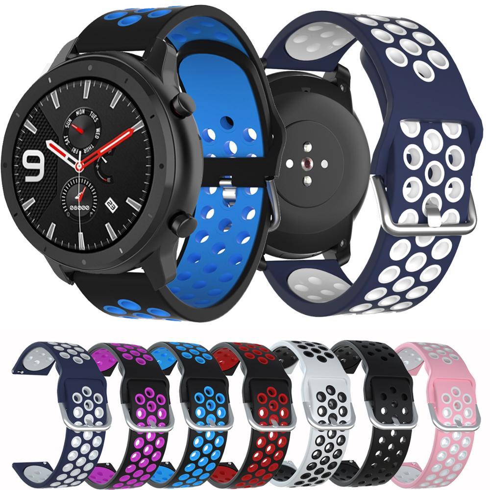 Para Huami Amazfit GTR 47mm inteligente reloj correa de reloj 22mm de reemplazo de silicona pulsera de ремешок для часов Amazfit ritmo Stratos 2
