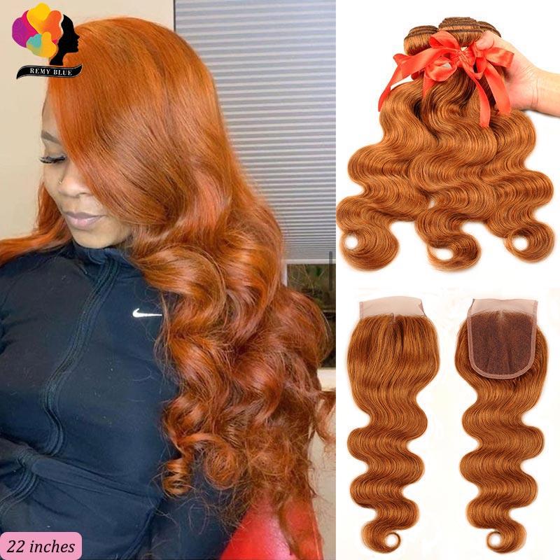 Brasileño rubio miel mechones con cierre #30 cuerpo de color de la onda 3 paquete con cierre Remy cabello humano Pre arrancado Remyblue