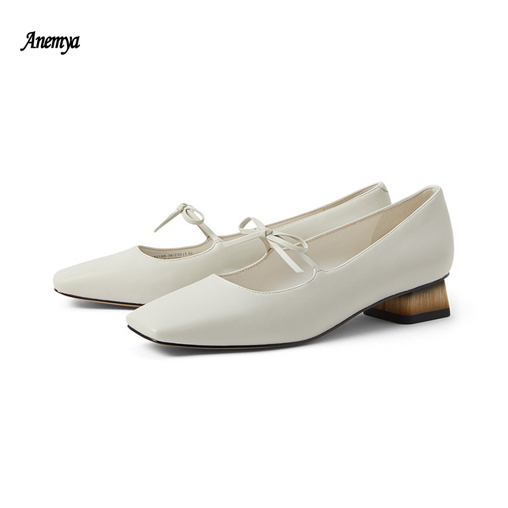 2021 New Spring Leather Women's Shoes Mary Jane Women Heels Square Toe White Fashion Bowknot Pumps Woman Summer Sandals Black 41