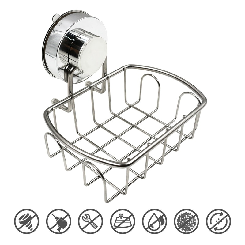 304 Stainless Steel Suction Soap Dish Holder for Shower Bathroom Tub and Kitchen Sink Bar Soap Holder Saver Tray enlarge