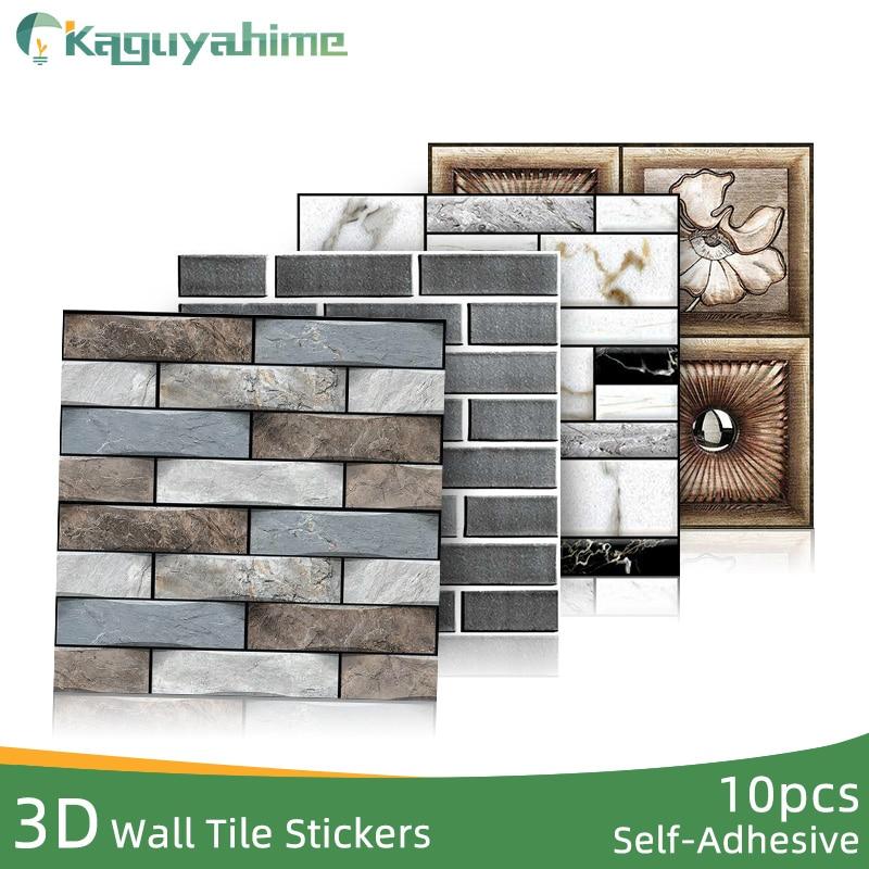 Papel tapiz autoadhesivo 3D de Kaguyahime, 10 unids/lote, pegatinas de pared con diseño de piedra DIY, papel de pared impermeable de ladrillo, cocina, sala de estar
