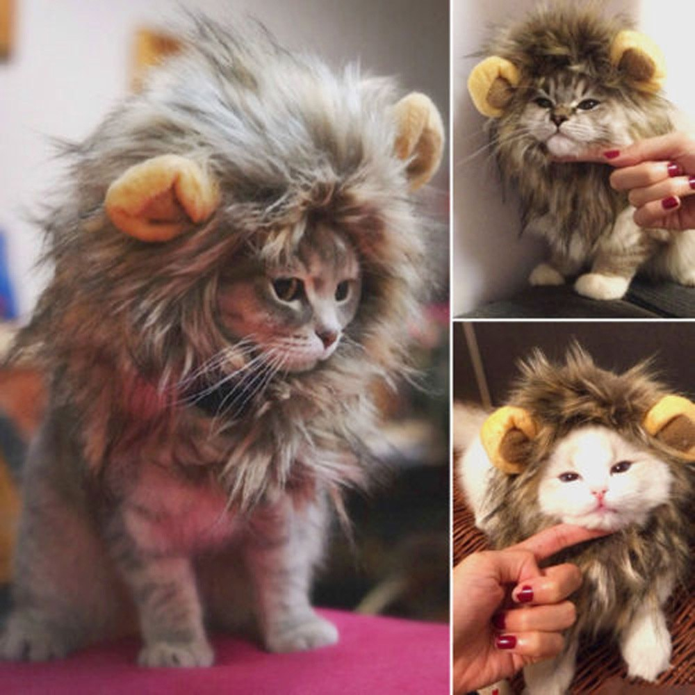 1pc cool costume for pets furry pet hat costume lion mane wig for cat Halloween dress up with ear pa