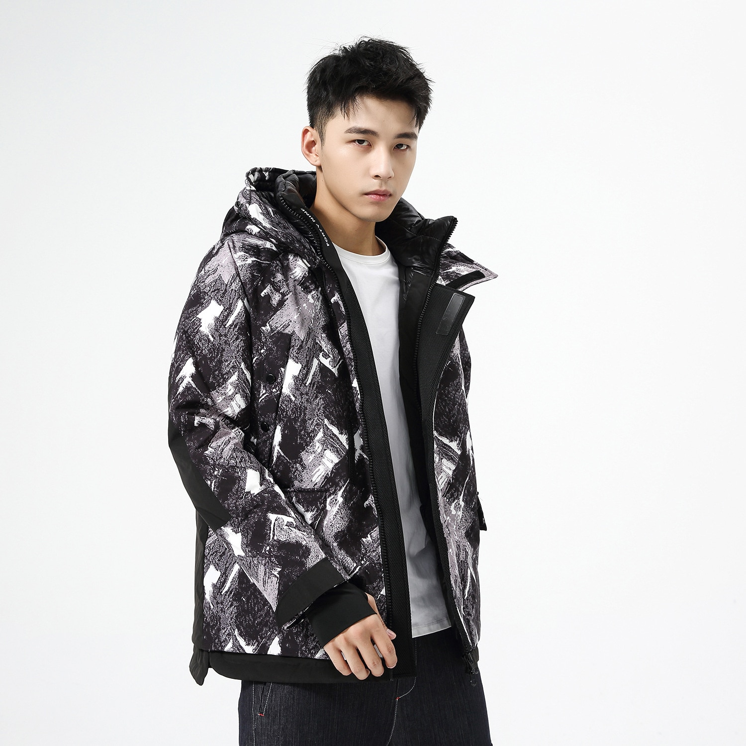 Down jacket men's winter short camouflage thickened hooded young leisure trend coat