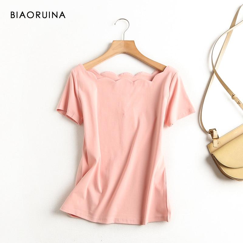 BIAORUINA Women's Solid Color Fashion Wild Slim-fit T-shirt Irregular Collar Female Casual Sweet Summer Tees Short Sleeve