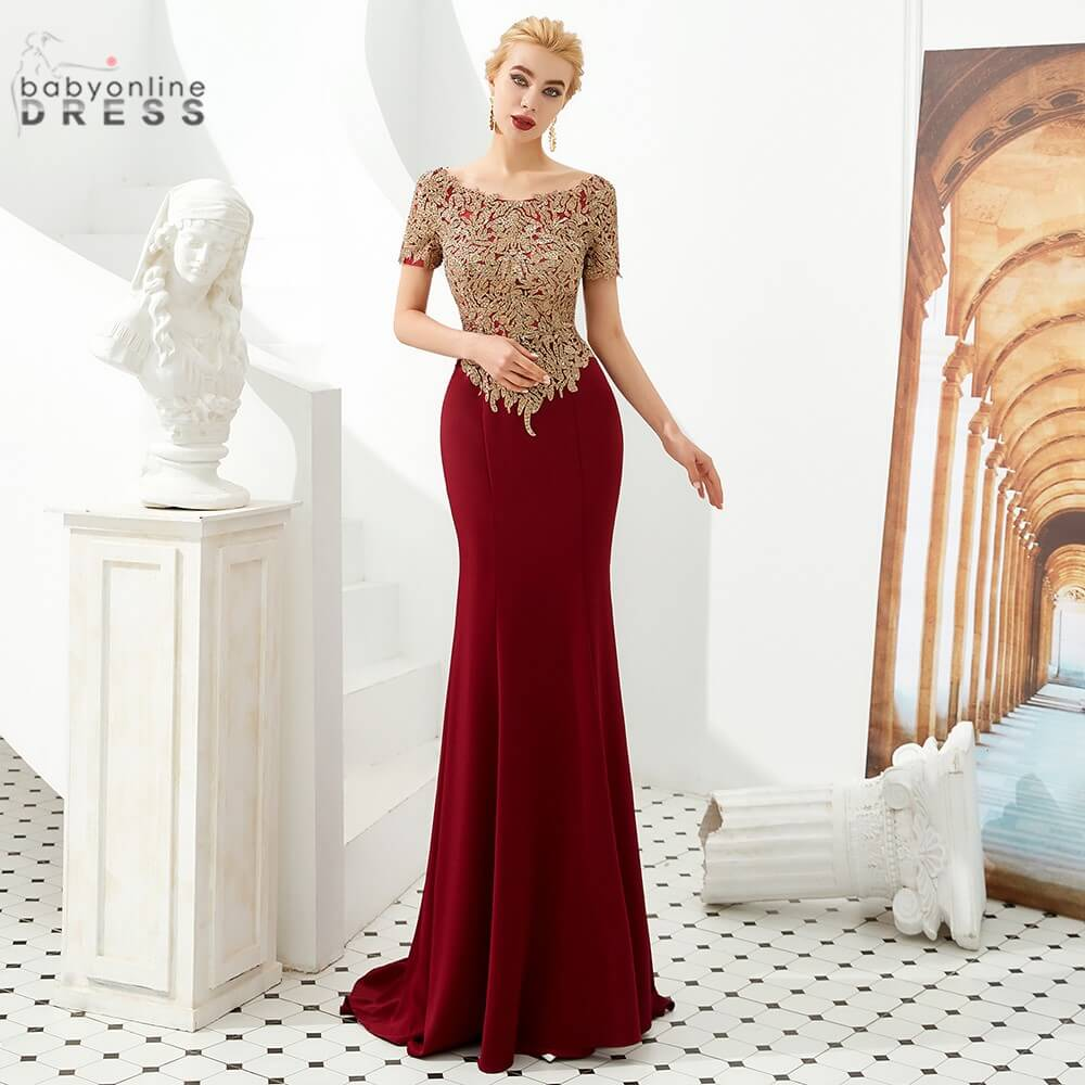 2020 Newest Mermaid Lace Long Evening Dress O-neck Burgundy Prom Gowns Sleeves Robe de Soiree Longue