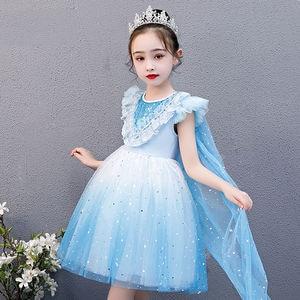 Girls' Dress Korean Style Fashion Baby Skirt Children's Summer Clothing Little Girl Gauze Skirt Crown Mantle Princess Dress