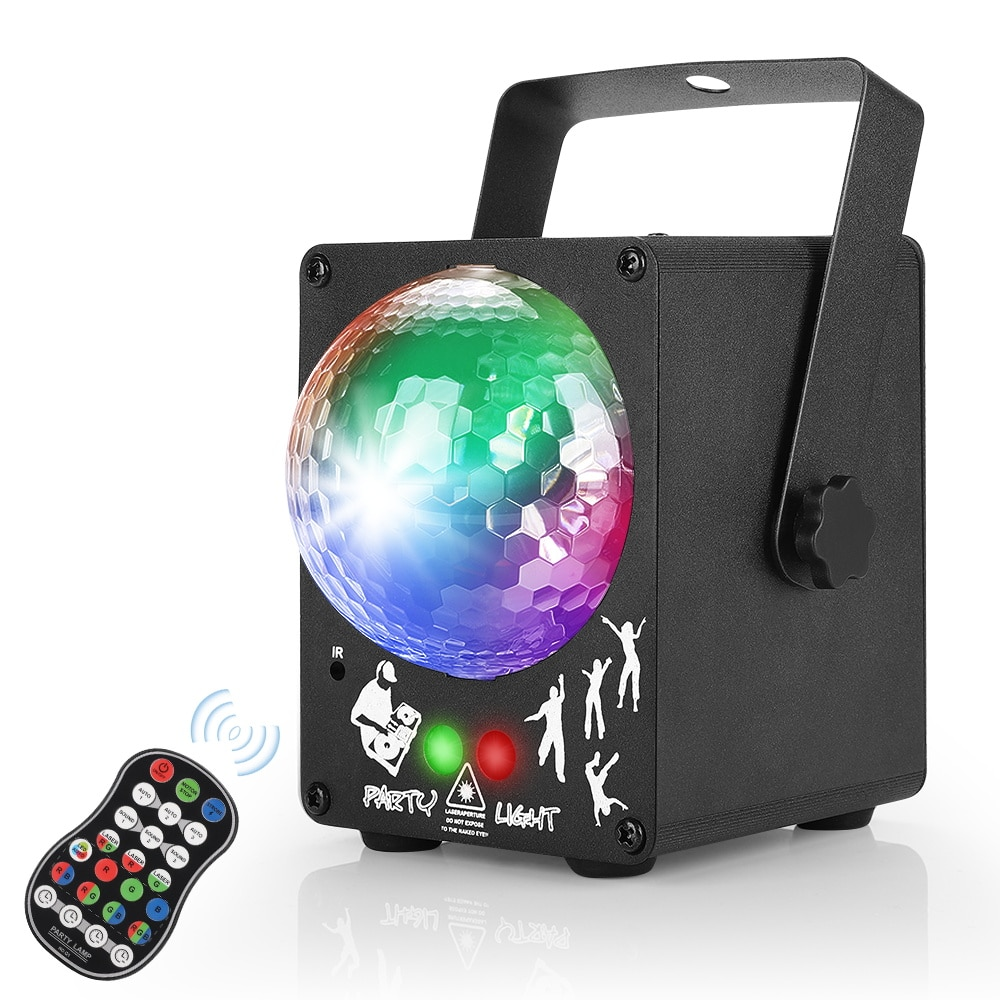 مصباح ليزر RGB LED ، جهاز عرض ضوئي للحفلات ، 60 نمط ، كرة سحرية DJ ، تأثير إضاءة الكريسماس