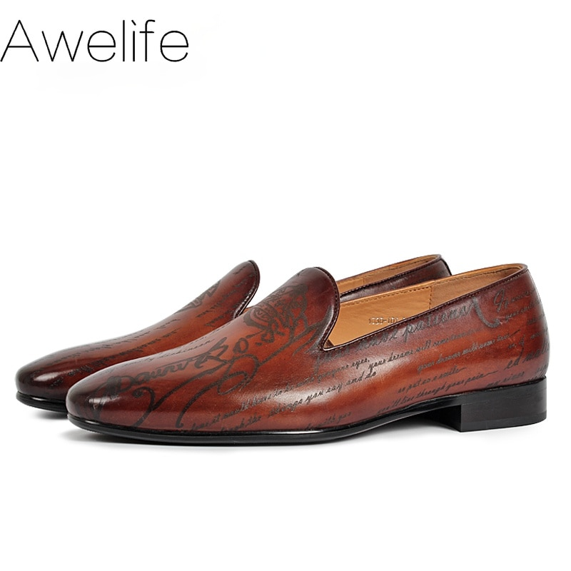 Handmade Men's Loafer Shoes Genuine Leather Fashion Wedding Party Luxury Brand Male Shoes Casual Sli