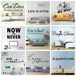Adesivo de parede de frase francesa e espanhola, adesivo decorativo de inglês, para sala de estar, quarto e casa