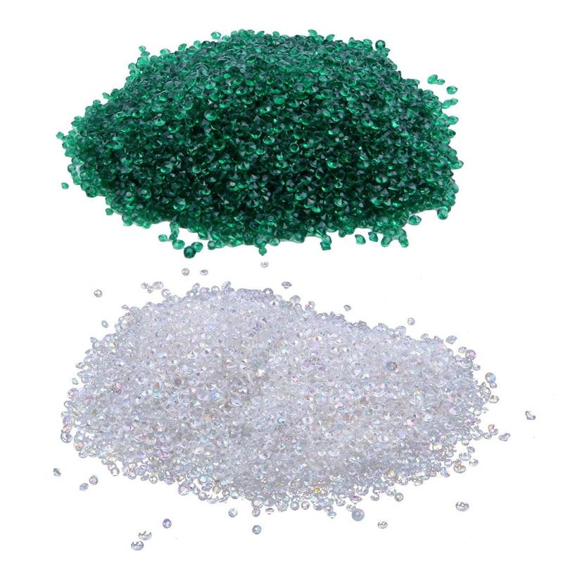 12000 decoración de boda mixta tabla de dispersión cristales de diamante confeti de acrílico verde esmeralda y AB claro
