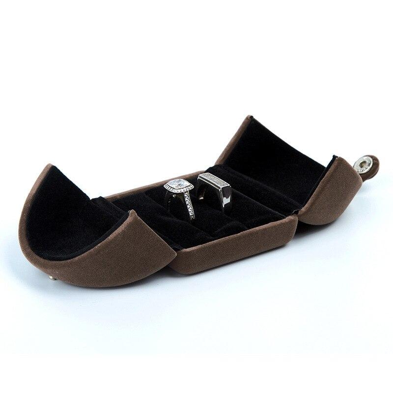 HOSENG 20Pcs Double Door Ring Necklace Pendant Bracelet Storage Box Women Gift Jewelry Brown Packaging Velvet Case HS_43