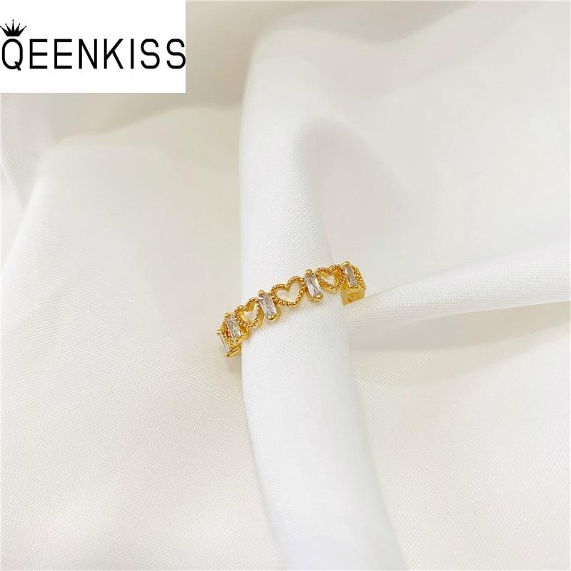 QEENKISS RG5145 Fine Jewelry Wholesale Fashion Woman Girl Birthday Wedding Gift Hollow Heart AAA Zircon 24KT Gold Resizable Ring