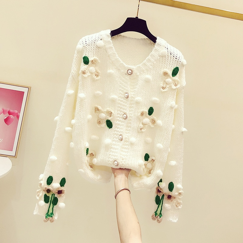Autumn Sweater Women Fashion Print Sweet Knitted Sweater Cardigan Hollow Out Embroidery Long Sleeve Knit Sueter De Mujer 2021