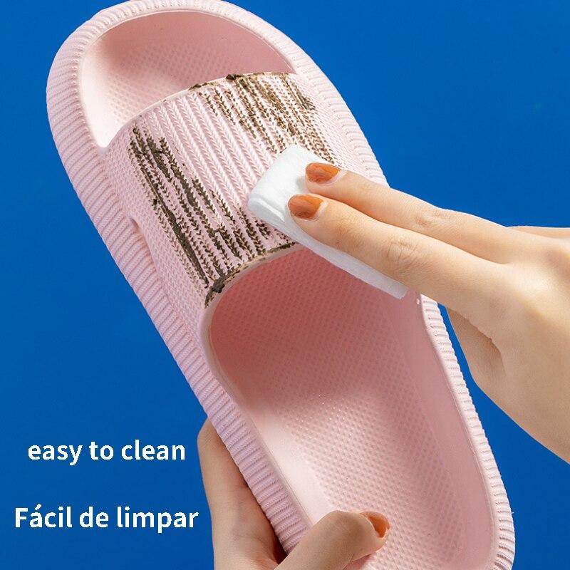 Indoor Bathroom Slippers Women Thick Non-slip Home Anti-slip Deodorant Cloud Slides Men Ladys Heighten Soft Slides Sandals Shoes