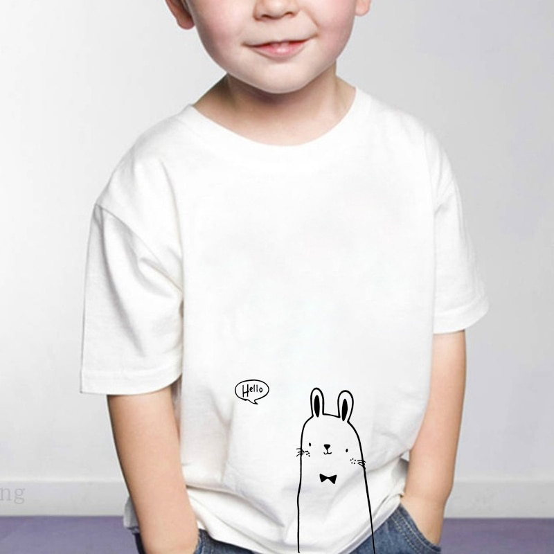 Cute rabbit print T Shirt Kids Funny Shirt Dinosaur graphic Tee Clothes Fashion Funny Kids Boys Toddler plussize kids sequins heart graphic tee