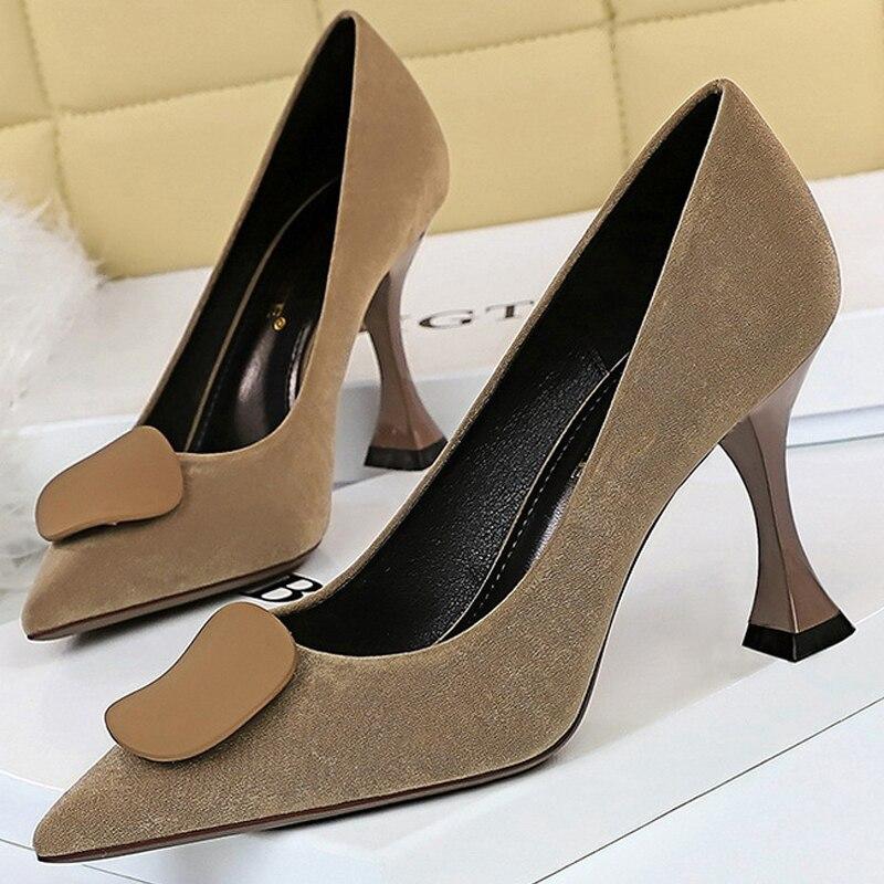 Туфли BIGTREE женские в ретро стиле, замша, высокий каблук-шпилька, котята, офисная обувь, 2021