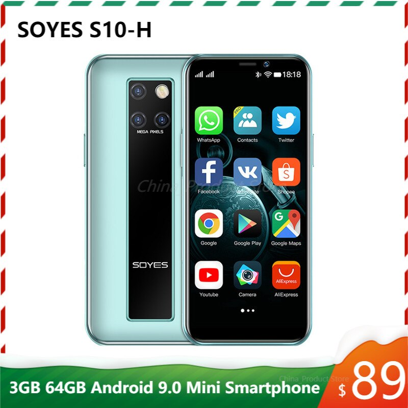 Original New SOYES S10-H Mini Mobile Phone 4G LTE 3G 64G MTK6379 Android 9.0 High-end 3.5'' Small Smartphone Telefone Celulares