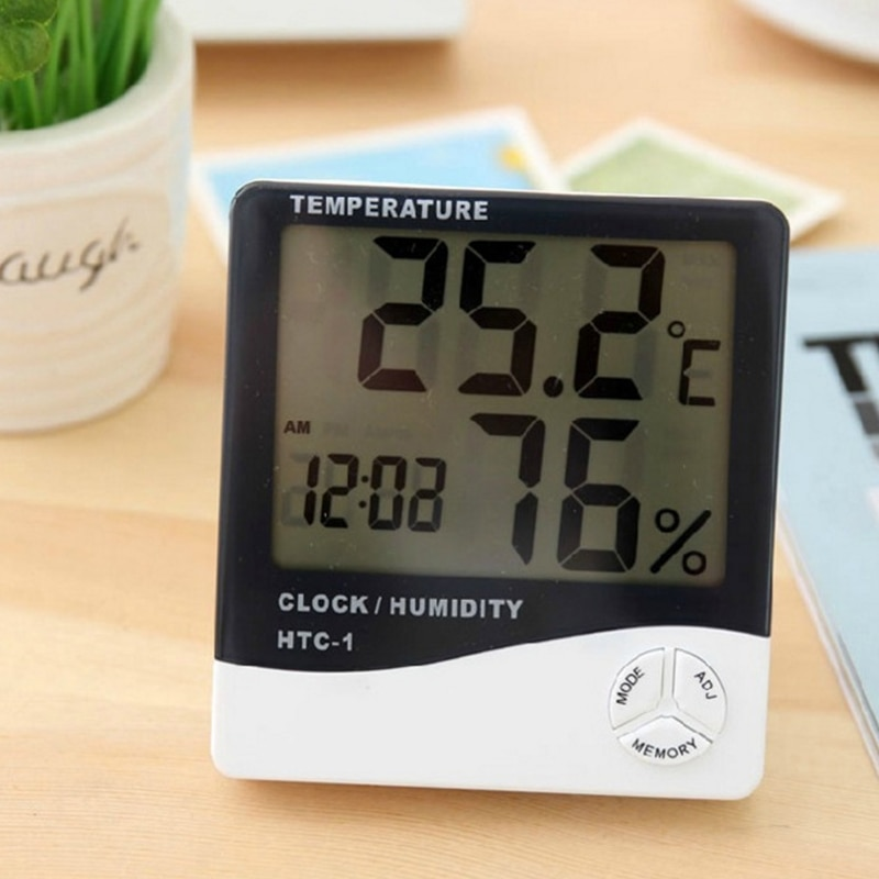 LCD Electronic Digital Temperature Humidity Meter Home Indoor Outdoor Thermometer Hygrometer Weather Station Clock HTC-1 HTC-2 htc 1 indoor room lcd digital electronic thermometer hygrometer measuring temperature humidity meter alarm clock weather station