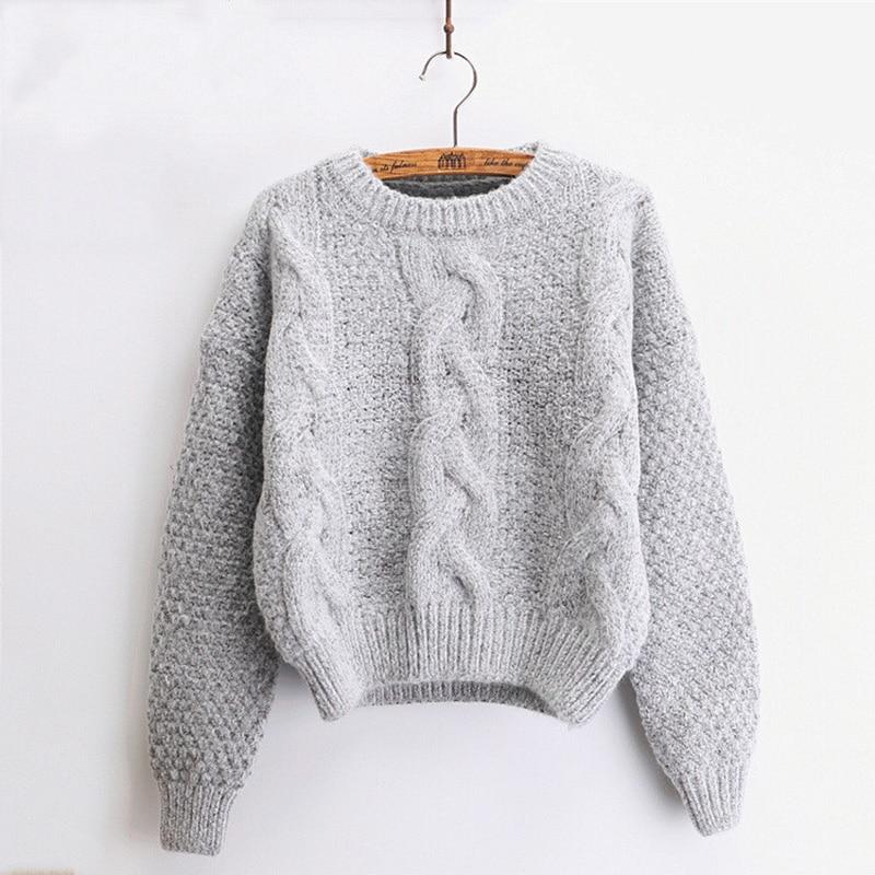 Suéteres de mujer abrigados pulóver y jerseys 2019 cuello redondo Mohair Pullover Twist Pull jerseys Harajuku Chic suéteres cortos de punto