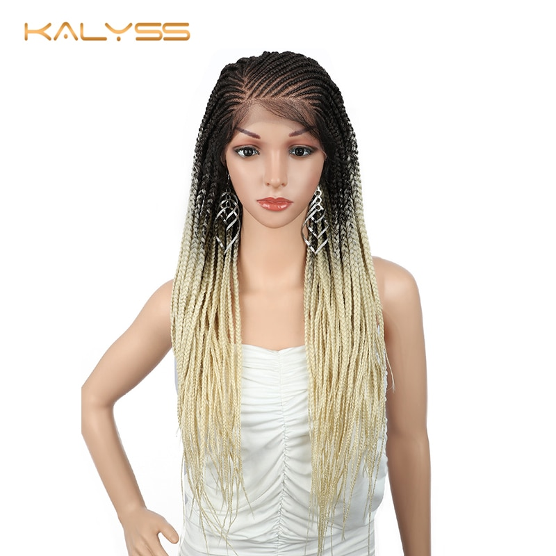 Kalyss 28 Inches Synthetic 13x6 Braided Wigs Braided Lace Front Wig 613 Blonde Lace Front Hair Wig Baby Hair for Black Women