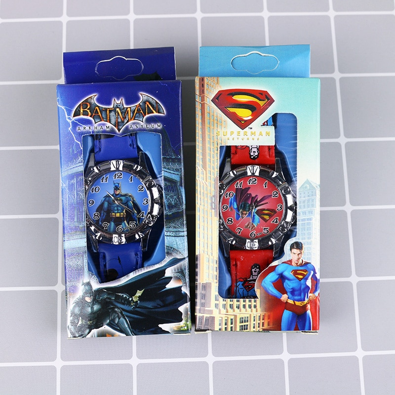 New Cartoon Super Hero Children Watches Kids Boys Princess Girls Watch Student Leather Strap Quartz