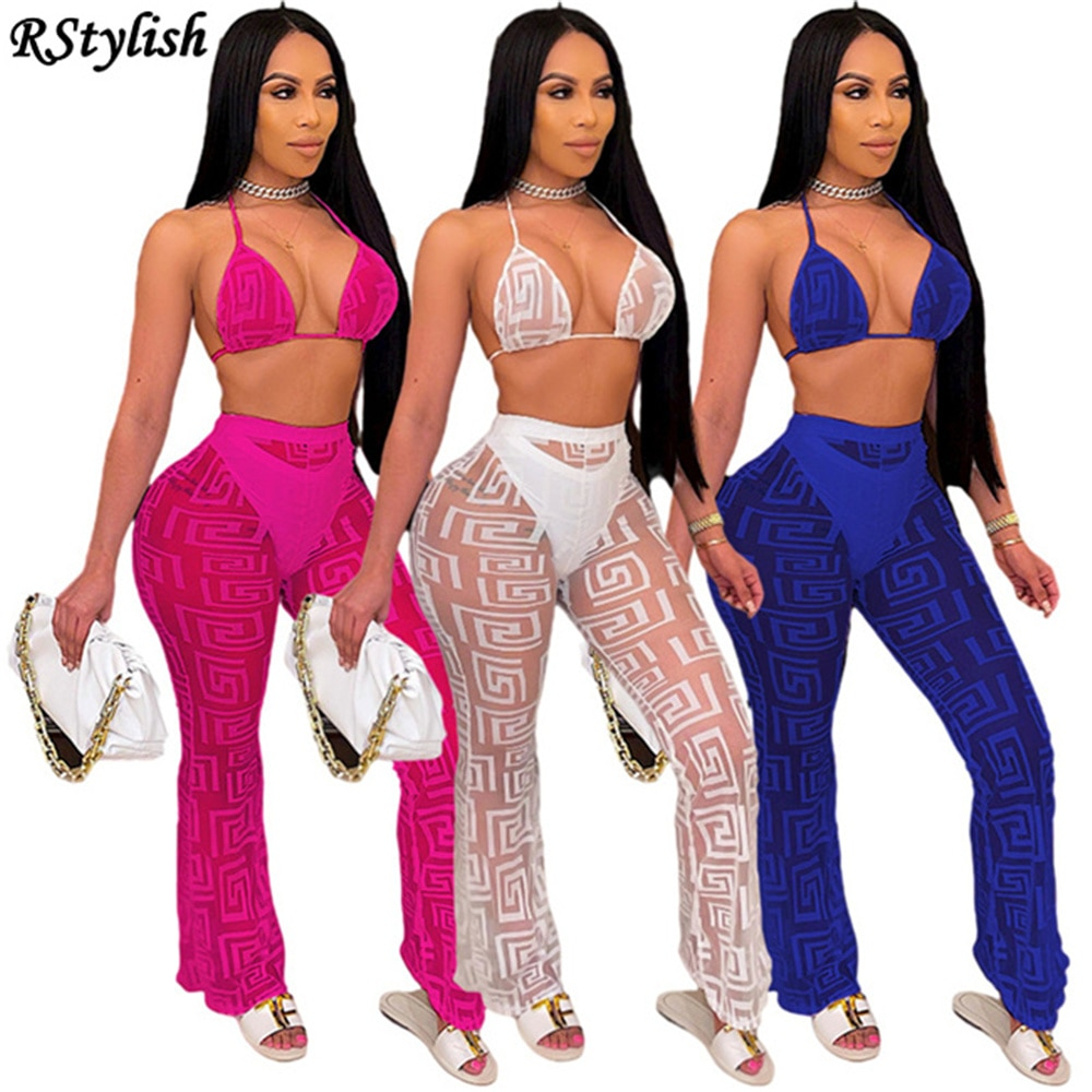 RStylish 2021 New Summer Female Mesh See Through Sets Yarn Suit Women's Solid Color Bikini Tops+Panties+Long Pants 3 Pieces Suit