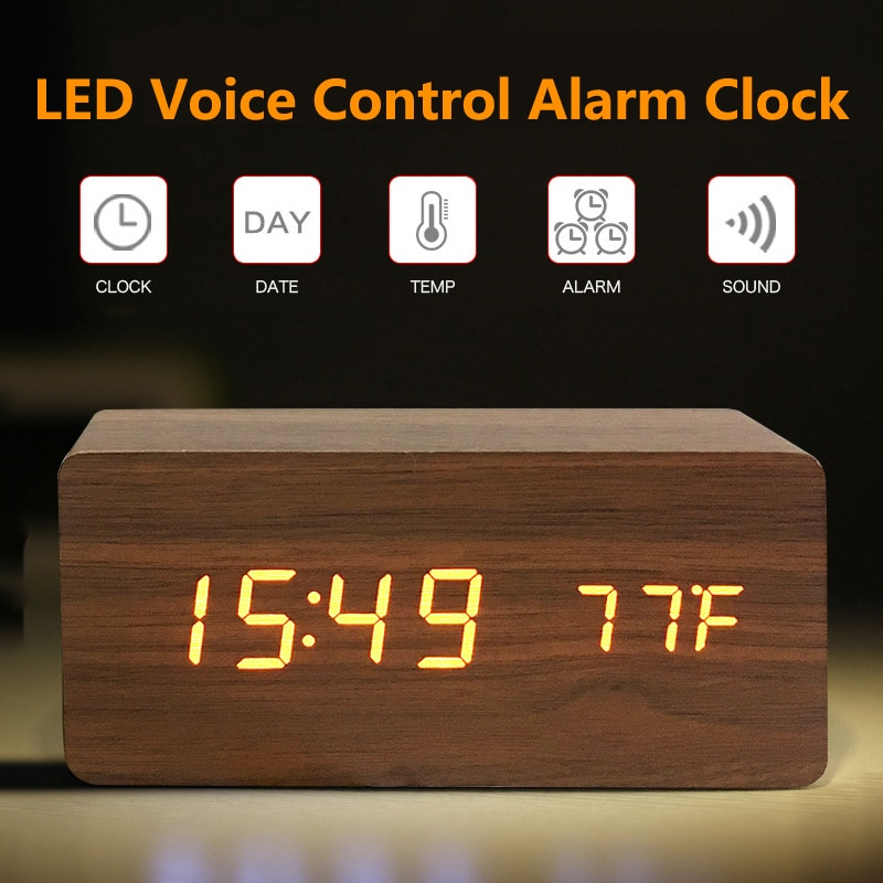 Wooden Digital LED Alarm Clock Voice Control USB/AAA Powered Electronic Table Clock Multifunction Te