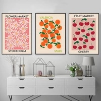 fruit market cherry orange vintage poster and print flower market stockholm wall art canvas painting wall pictures kitchen decor