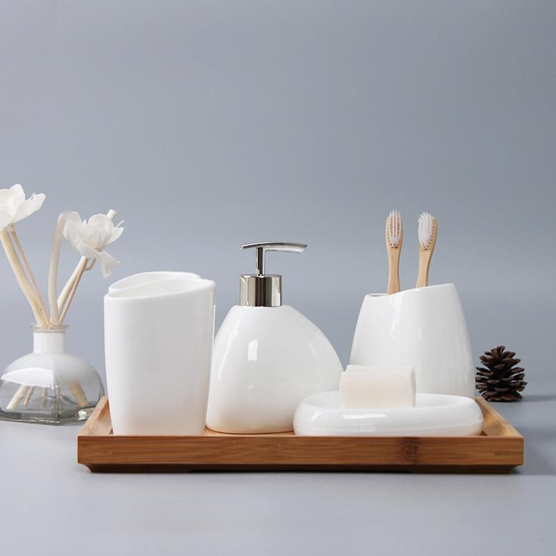 Bathroom Accessories Set Ceramic Soap Dispenser Toothbrush Holder Tumbler Soap Dish Cotton Swab Aromatherapy Household Articles