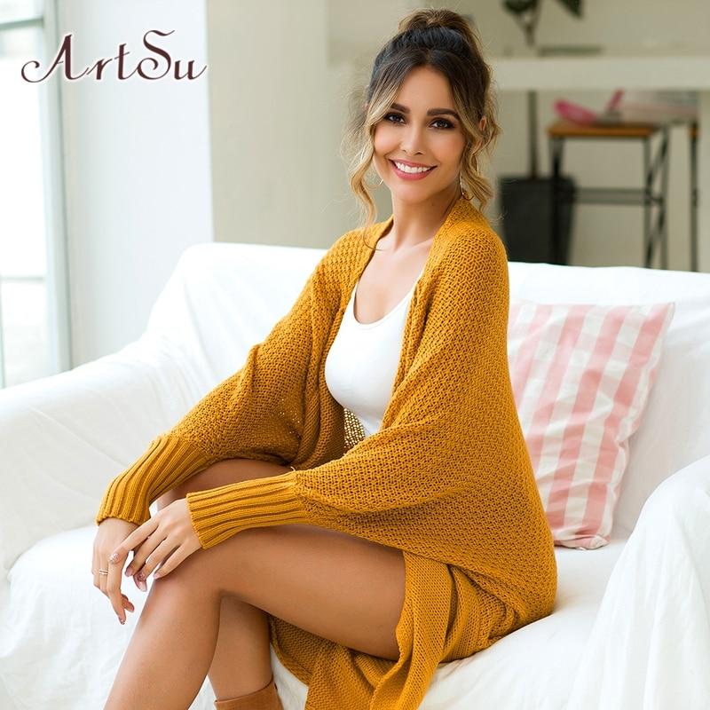 ArtSu Winter Long Sleeve Shirt Yellow Sweater Fashion Women Cardigan Long Open Stitch Knitted Ladies Sweaters Top Pink ASSW20241