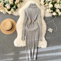womens winter eegant high collar knitted dress stretch lady slim bag hip bottom skirt full sleeve solid color fashion vestidos