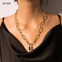SHIXIN Hip Hop serrure collier pour femmes Punk cadenas pendentif collier couches longue chaîne épaisse collier épais collier ras du cou 2020
