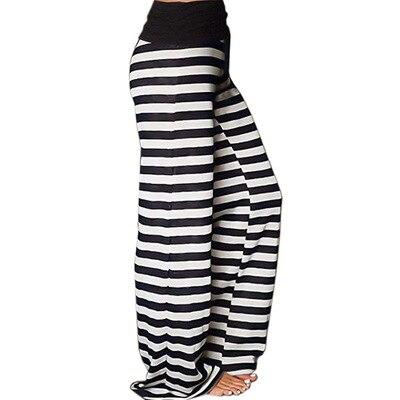 Women fashion pants Wide Leg Pants Striped Polka Dot Printed High Waist trousers