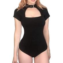 Female Bikini 2020 Summer Women Bandage Hollow out One Piece Push-Up Brazilian Black Short sleeve Swimsuit Beachwear swimwear