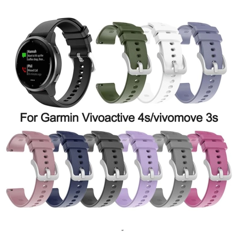 18mm Replacement Watchband Silicone Silver Buckle Strap For Garmin Vivoactive 4s/vivomove 3s Comfortable Buckle Strap Hot Sale