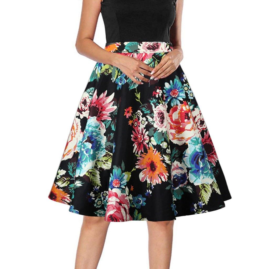 Retro Vintage Cotton Black Skirt 2020 Floral Animal Print jupe femme Rockabilly Swing Summer Ladies Women Skirt